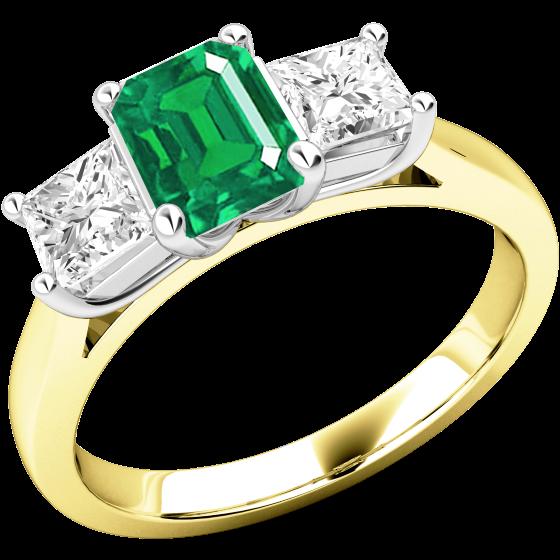 Smaragd und Diamant Ring für Dame in 18kt Gelbgold und Weißgold mit einem Smaragd Schliff Smaragd und 2 Princess Schliff Diamanten-img1