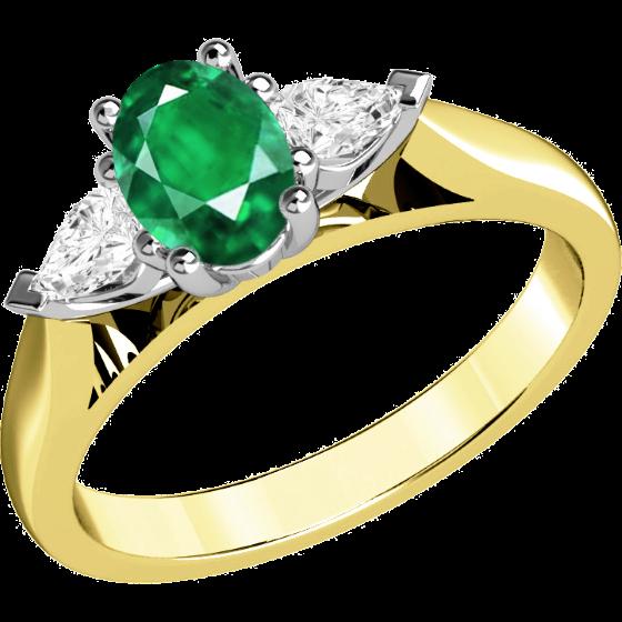 Smaragd und Diamant Ring für Dame in 18kt Gelbgold und Weißgold mit einem ovalen Smaragd und 2 Tropfen Schliff Diamanten in Krappenfassung-img1