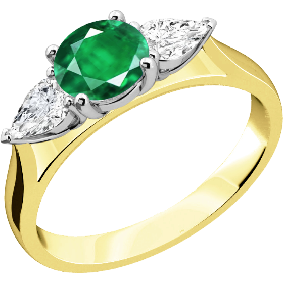 Smaragd und Diamant Ring für Dame in 18kt Gelbgold und Weißgold mit einem runden Smaragd und Tropfen Schliff Diamanten auf beiden Seiten-img1