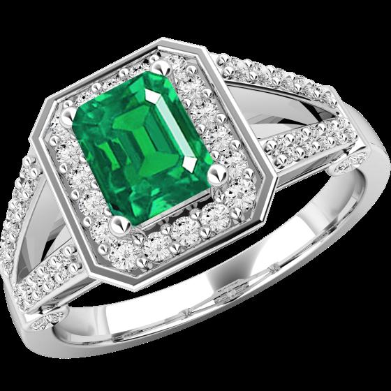 Smaragd und Diamant Ring für Dame in 18kt Weißgold mit Smaragd Schliff Smaragd und runden Brillant Schliff Diamanten-img1