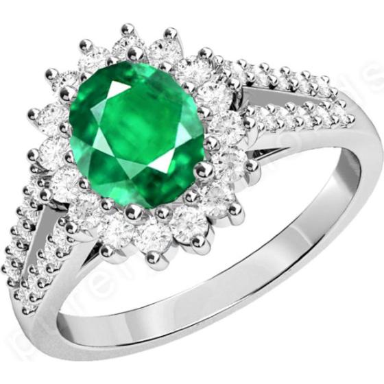 Smaragd und Diamant Ring für Dame in 18kt Weißgold mit einem zentralen ovalen Smaragd umgeben von runden Brillanten in Krappenfassung-img1