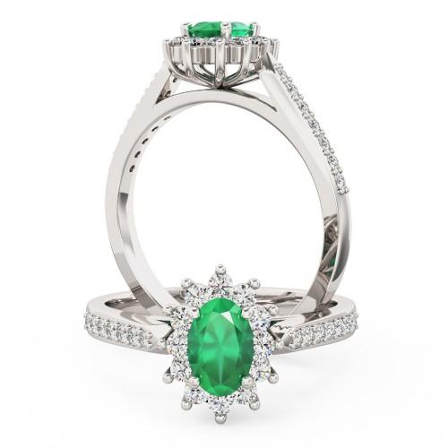 Smaragd und Diamant Ring für Dame in 18kt Weißgold mit einem ovelen Smaragd und runden Brillanten-img1