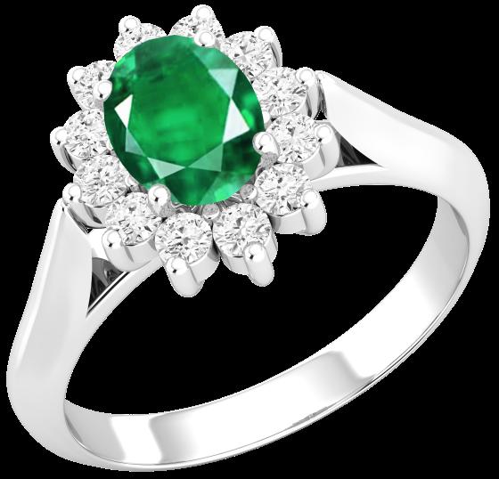 Inel cu Smarald si Diamant Dama Aur Alb 18kt cu un Smarald Oval si Diamante Rotund Briliant in Setare Gheare-img1