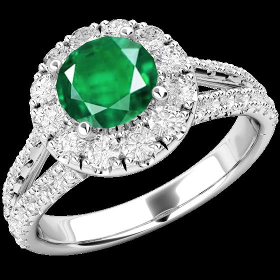 RDM571W-Inel cu Smarald si Diamant Dama Aur Alb 18kt cu un Safir Rotund si Diamante Mici Rotund Briliant Imprejur si pe Margini,Design Clasic,Eleganță Modermă-img1