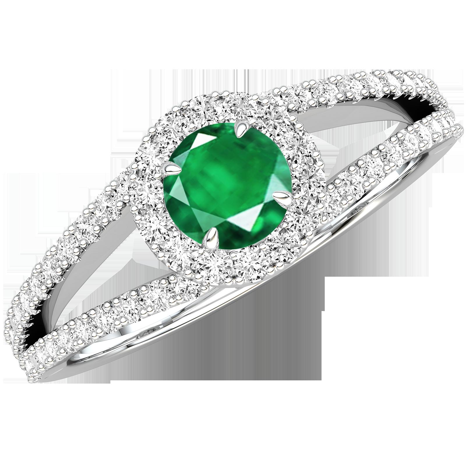 RDM667W-Inel cu Smarald si Diamante Dama Aur Alb 18kt cu un Smarald Rotund Briliant Central si Diamante Mici pe Laterale-img1