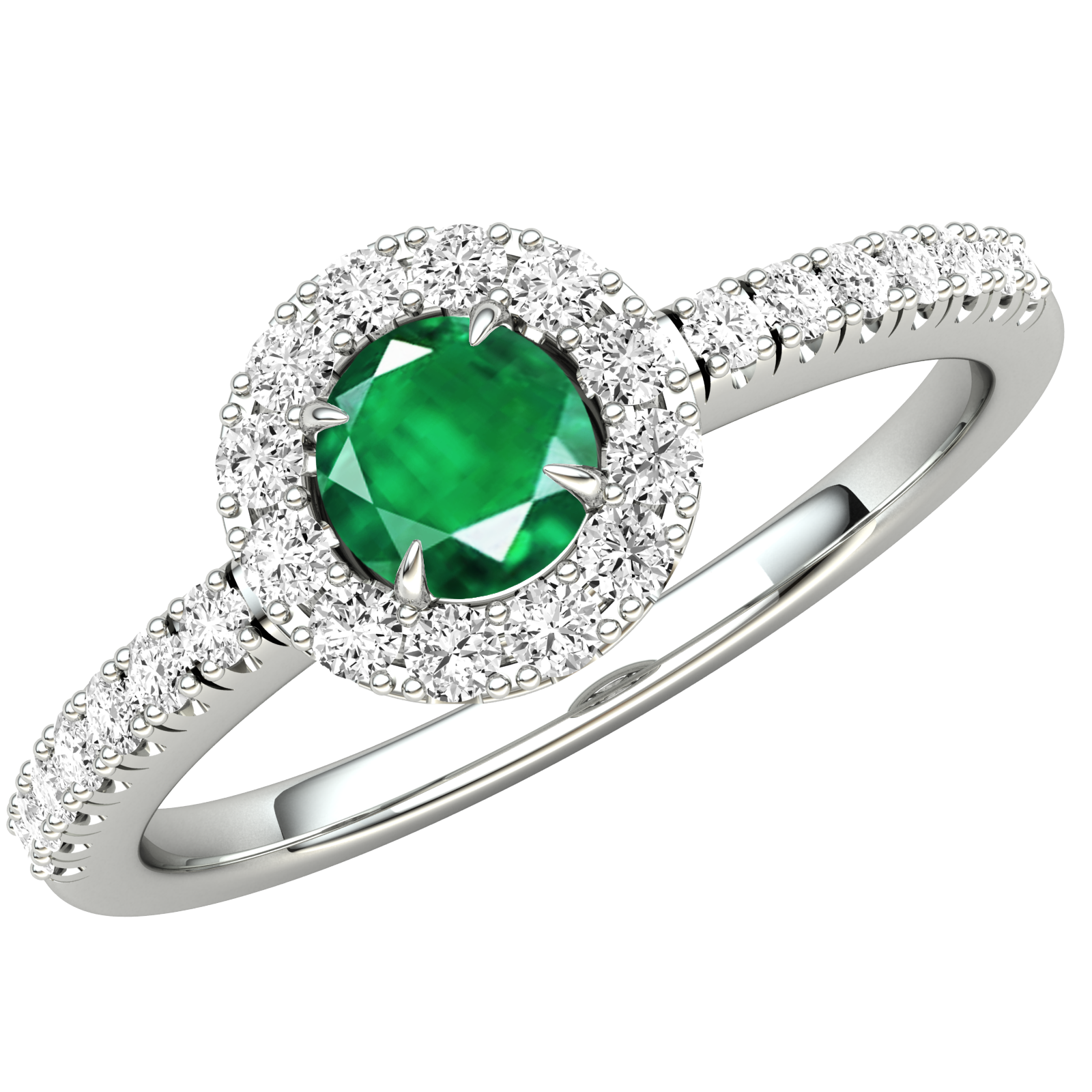 RDM675W-Inel cu Smarald si Diamante Dama Aur Alb 18kt cu un Smarald in Centru si Diamante Rotunde Briliant, Stil Halo si Diamante Laterale-img1