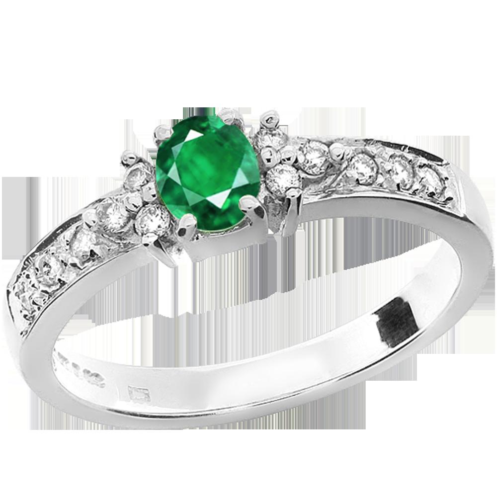 RDM679W-Inel cu Smarald si Diamante,Aur de 18kt,un Smarald in Forma Ovala,in Setare Gheare,Diamante Mici,Pavate pe Margini-img1