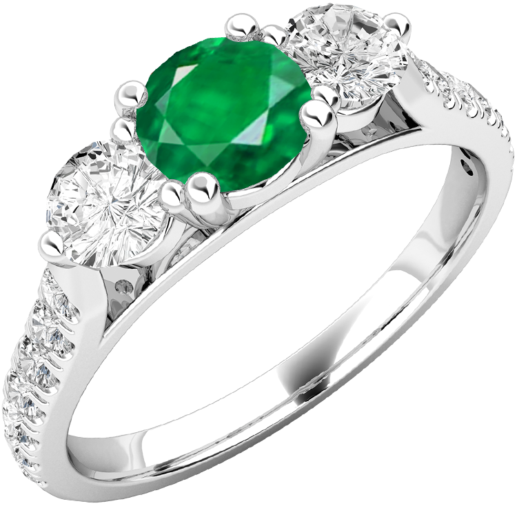 RDM681W-Inel cu Smarald si Diamant Dama Aur Alb 18kt cu un Smarald Rotund in Centru si Diamante Rotund Briliant pe Margini,Diamante Mici pe Lateral-img1