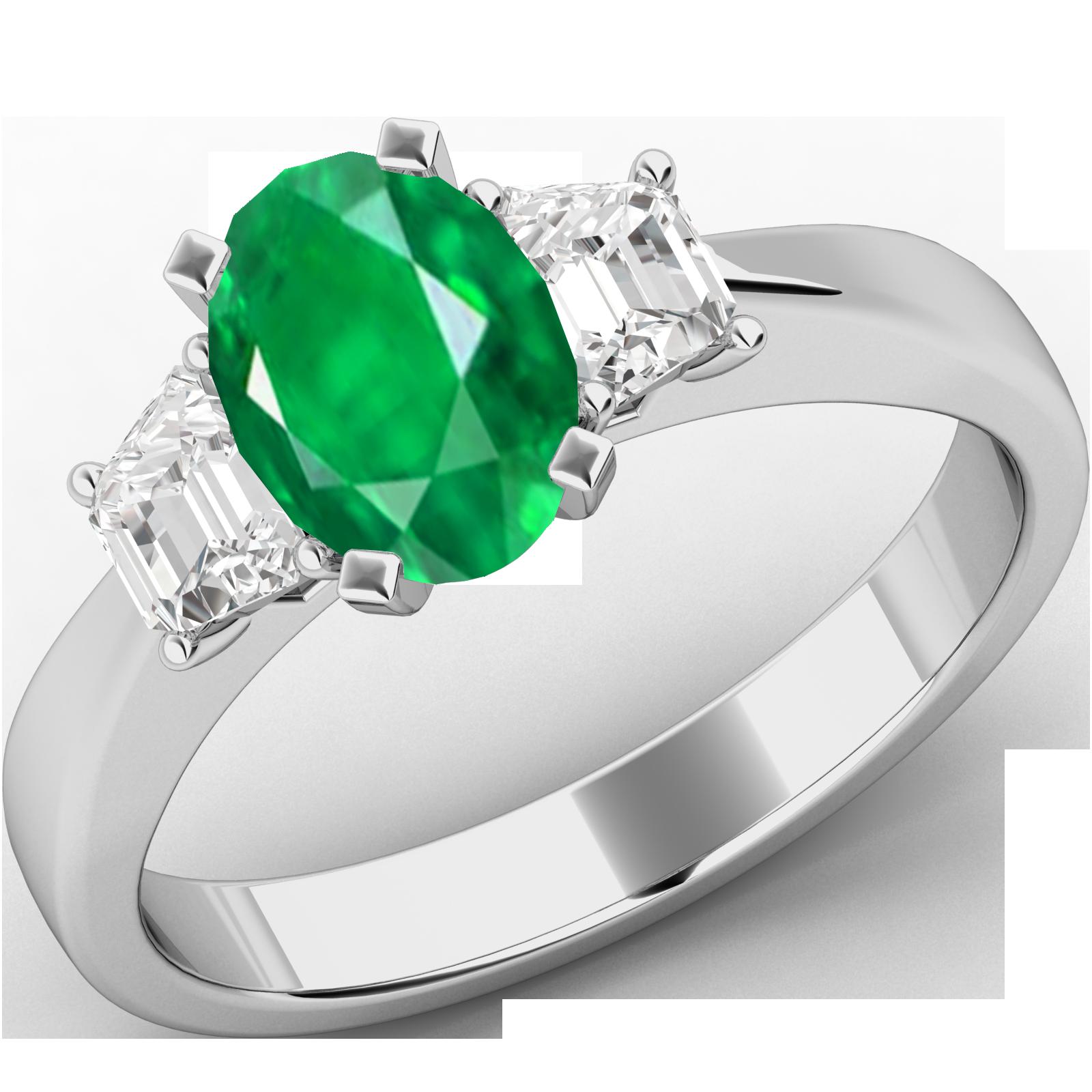 RDM714W-Inel cu Smarald si Diamante Dama Aur Alb 18kt cu un Smarald Central Forma Ovala si Doua Diamante in Forma de Trapez-img1