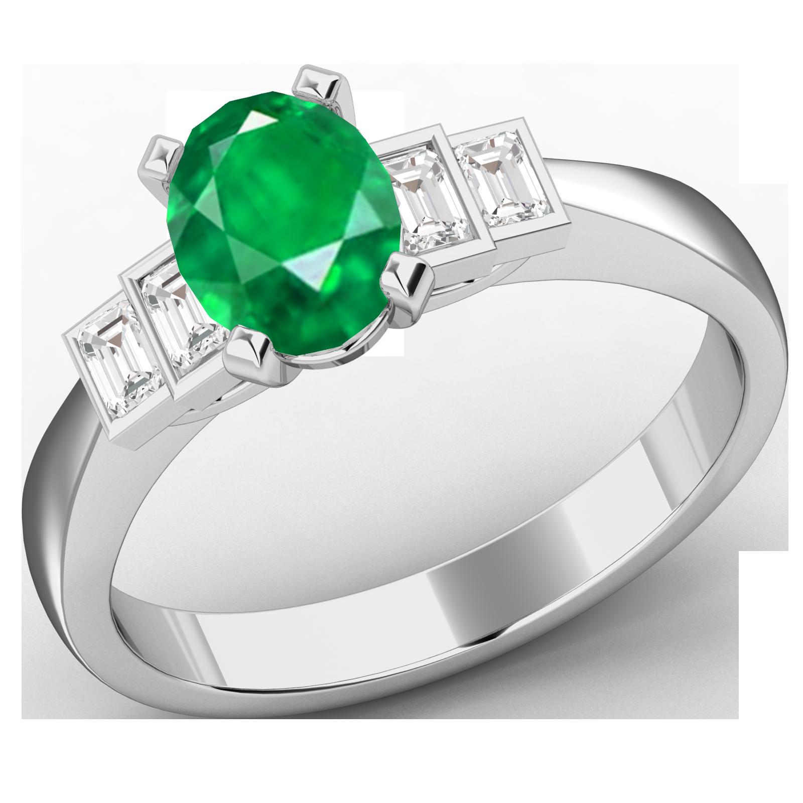 RDM718W-Inel cu Smarald si Diamante Dama Aur Alb 18kt cu 4 Diamante, cu un Smarald Central Oval si Diamante Forma Bagheta pe Margini-img1