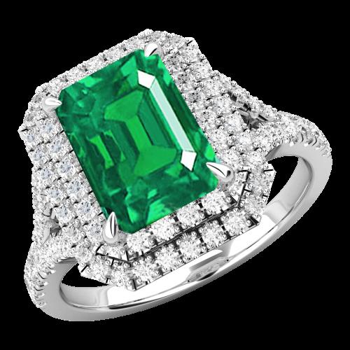 RDM742W-Inel cu Smarald si Diamante Dama Aur Alb 18kt cu un Smarald Central Taietura Smarald si Diamante Mici Rotund Briliant Imprejur si pe Lateral-img1