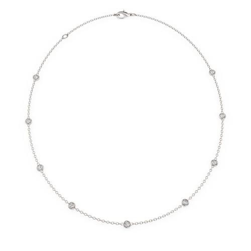 Lantisor cu Perla si Diamante Dama Aur Alb 18kt cu 31 Diamante Rotund Briliant si o Perla de 10mm-img1