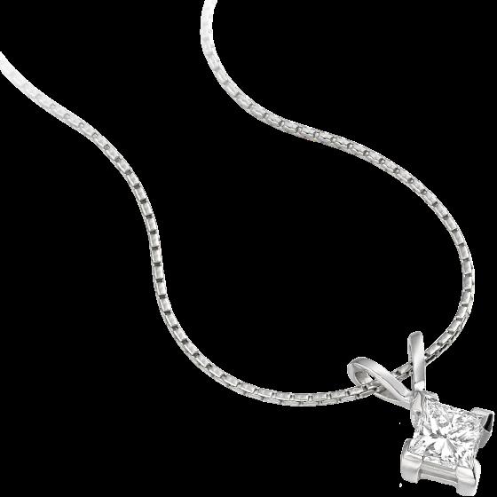 Pandantiv cu Diamant Solitaire Aur Alb 18kt cu Diamant Princess in Setare cu 4 Gheare si Lantisor de 45cm-img1