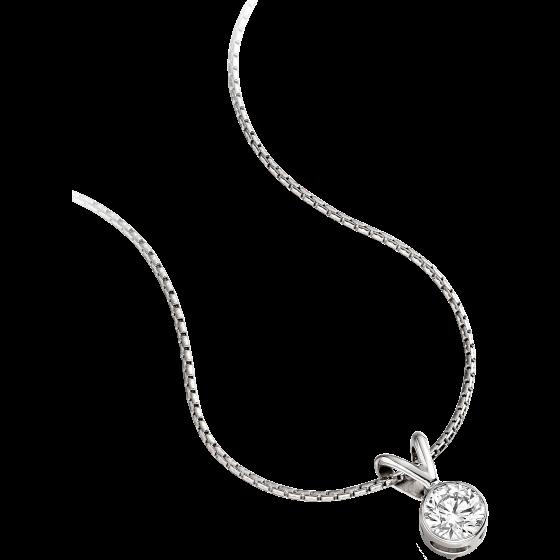 Pandantiv cu Diamant Solitaire Aur Alb 18kt cu Diamant Rotund Briliant in Setare Rub-Over si Lantisor de 45cm in Oferta-img1