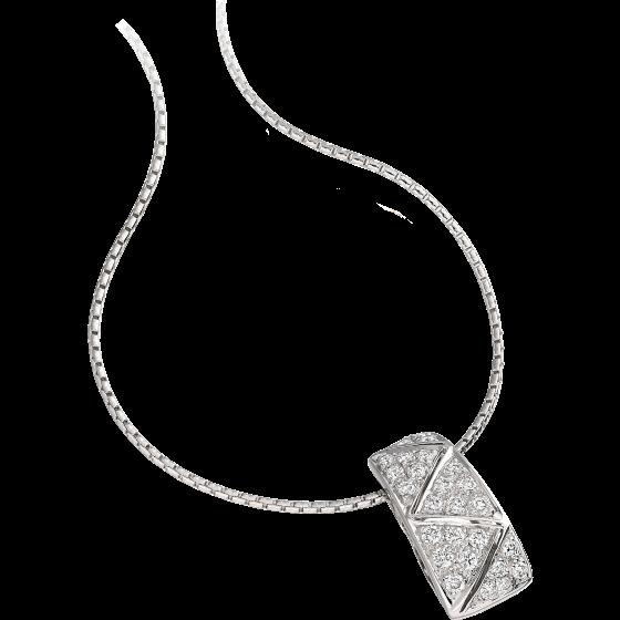 Pandantiv cu Mai Multe Diamante Aur Alb 18kt cu Diamante Rotund Briliant in Setare Pavata si Lantisor de 45cm-img1
