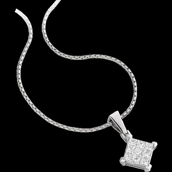 Pandantiv cu Mai Multe Diamante Aur Alb 18kt cu Diamante Princess in Setare Invizibila si Lantisor de 45cm-img1