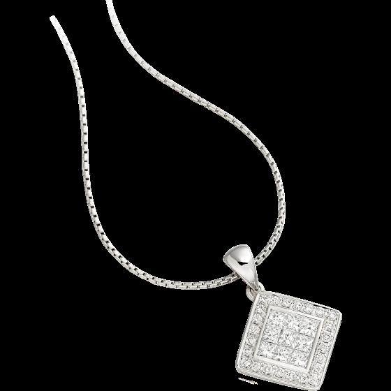 Pandantiv cu Mai Multe Diamante Aur Alb 18kt cu Diamante Princess si Rotund Briliant & Lantisor de 45cm-img1