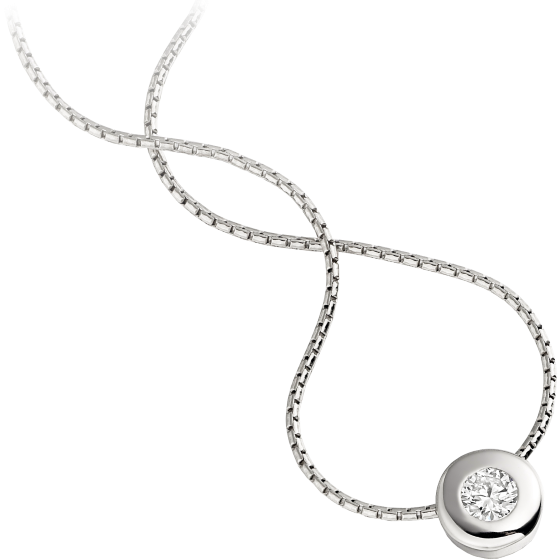 Single stone diamond pendant in 9ct white gold with a round single stone diamond pendant in 9ct white gold with a round brilliant cut diamond in a rub over setting and an 18 inch chain aloadofball Image collections