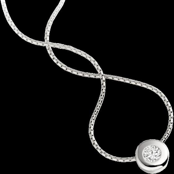 Pandantiv cu Diamant Solitaire Aur Alb 18kt cu Diamant Rotund Briliant in Setare Rub-Over si Lantisor Aur Alb 18kt de 42cm in Oferta-img1
