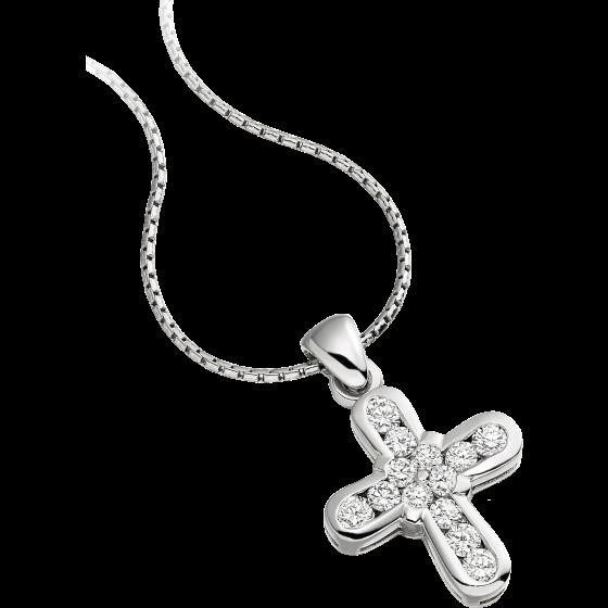 Pandantiv cu Mai Multe Diamante Aur Alb 18kt cu Diamante Rotunde in Forma de Cruce si Lantisor de 45cm-img1