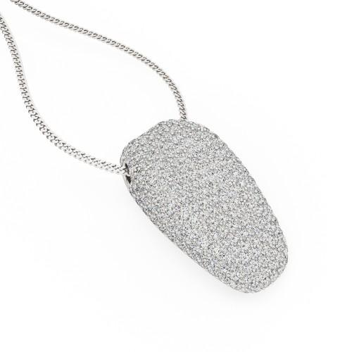 Pandantiv cu Mai Multe Diamante Aur Alb 18kt cu Diamante Rotund Briliant cu Setare Pavata & Lantisor de 45cm in Oferta. In Stoc!-img1