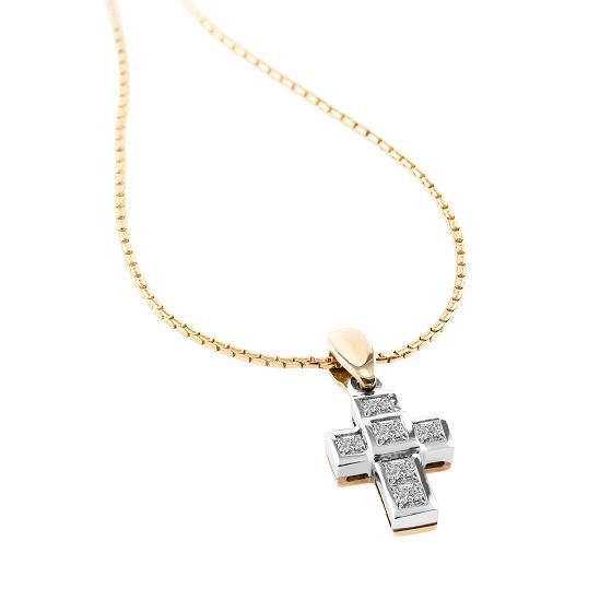 Pandantiv Cruce din Aur Alb & Aur Galben 18kt cu Mai Multe Diamante si Lantisor din Aur Galben 18kt in Stoc-img1