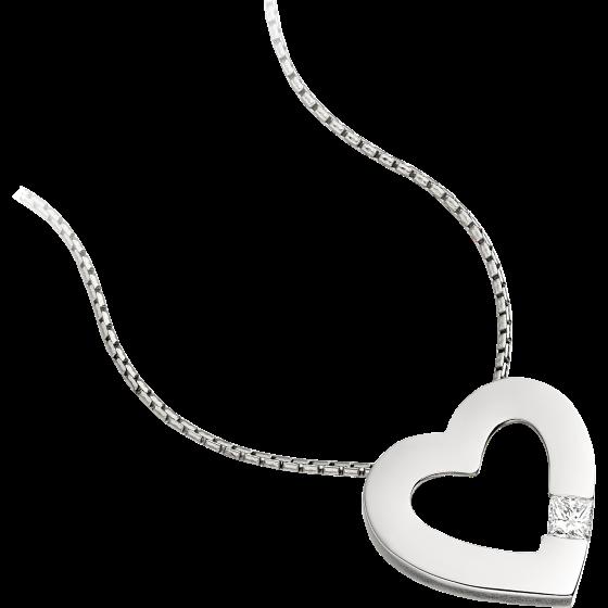 Pandantiv cu Diamant Solitaire Aur Alb 18kt cu Diamant Princess in Setare cu 4 Gheare in Forma de Inima si Lantisor de 45cm-img1