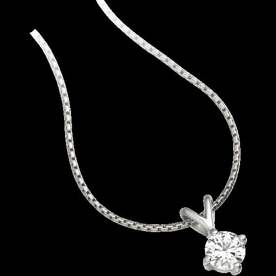 Pandantiv cu Diamant Solitaire Aur Alb 9kt cu Diamant Rotund Briliant in Setare cu 4 Gheare si Lantisor Aur Alb 9kt de 45cm-img1