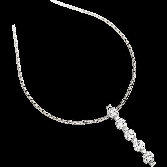 Pandantiv cu Mai Multe Diamante Aur Alb 9kt cu Cinci Diamante Rotund Briliant si Lantisor de 45cm-img1