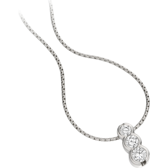 Pandantiv cu Mai Multe Diamante Aur Alb 18kt cu 3 Diamante Rotund Briliant in Setare Rub-Over si Lantisor de 45cm-img1