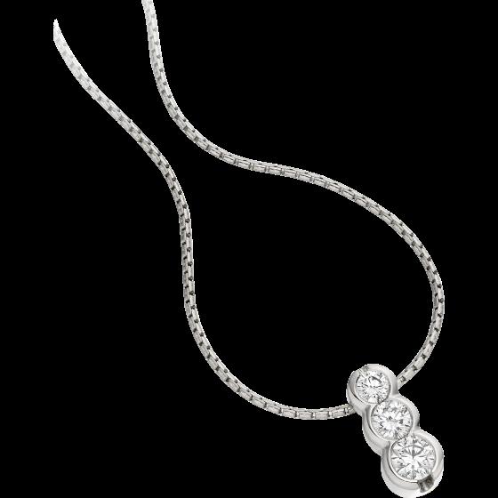 Diamant-Anhänger in 9kt Weißgold mit 3 runden Brillanten in Zargenfassung und 45cm Kette-img1