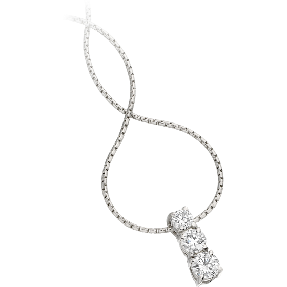 Pandantiv cu Mai Multe Diamante Aur Alb 18kt cu 3 Diamante Rotund Briliant Setare Gheare si Lantisor de 45cm-img1
