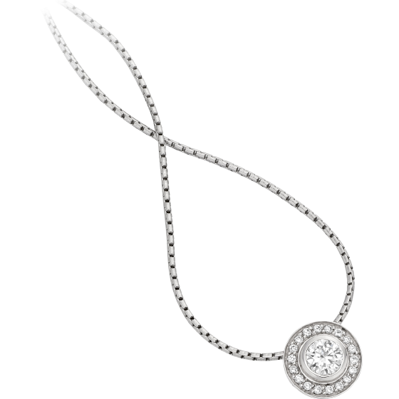 Diamond Pendant in 18ct White Gold with a Round Brilliant Diamond in a Rub-Over Setting in the Centre and Small Round Brilliant Cut Diamonds in Claw Setting & 18 inch chain-img1