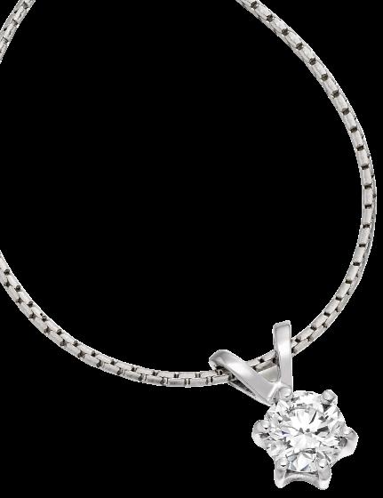 Pandantiv cu Diamant Solitaire Aur Alb 9kt cu Diamant Rotund Briliant in Setare cu 6 Gheare si Lantisor Aur Alb 9kt de 45cm-img1