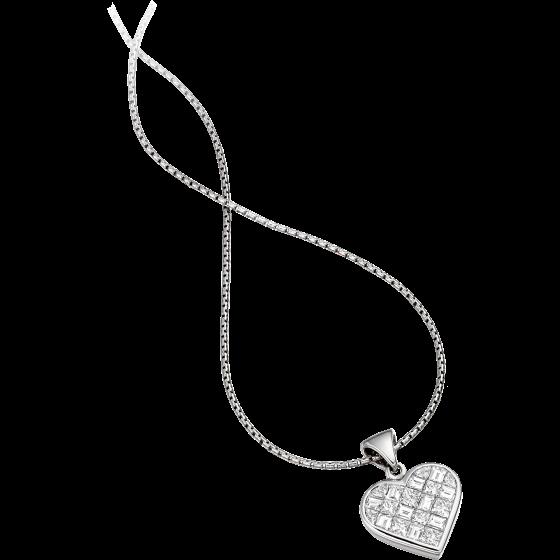 RDP059W - 18kt Weissgold Herz-Anhänger und 45cm Kette mit Princess & Baguette Schliff Diamanten-img1
