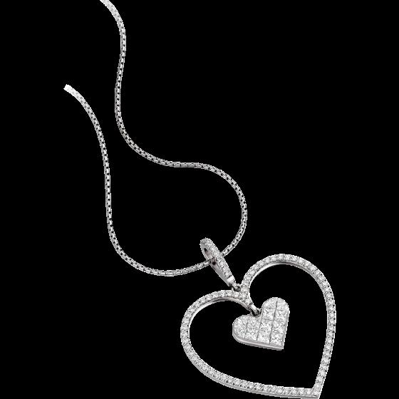 Pandantiv cu Mai Multe Diamante Aur Alb 18kt in Forma de Inima cu Diamante Princess si Rotund Briliant & Lantisor de 45cm. In stoc.-img1