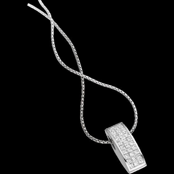 Pandantiv cu Mai Multe Diamante Aur Alb 18kt cu Diamante Princess si Lantisor de 45cm-img1