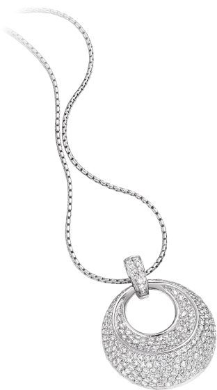 Pandantiv cu Mai Multe Diamante Aur Alb 18kt Rotund cu Diamante Rotund Briliant in Setare Pavata si Lantisor de 45cm-img1