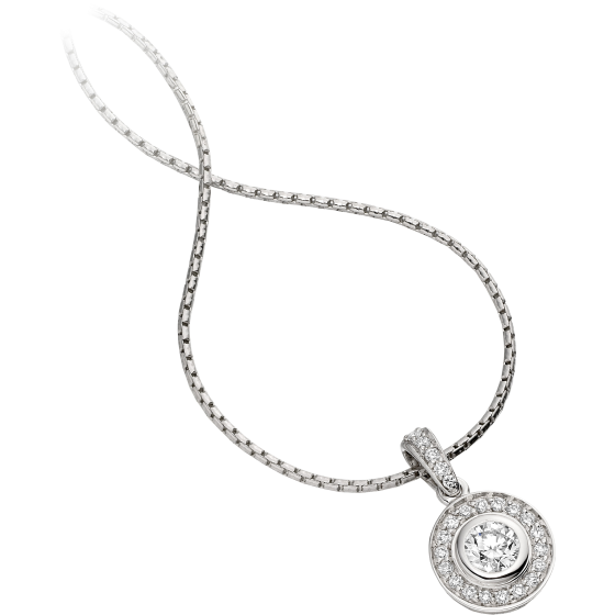 Pandantiv cu Diamant Aur Alb 18kt cu Diamante Forma Rotund Briliant si Lantisor de 45cm-img1