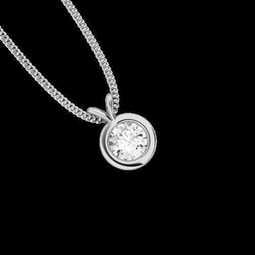 Pandantiv cu Diamant Solitaire Aur Alb 18kt cu Diamant Rotund Briliant in Setare Rub-Over-img1