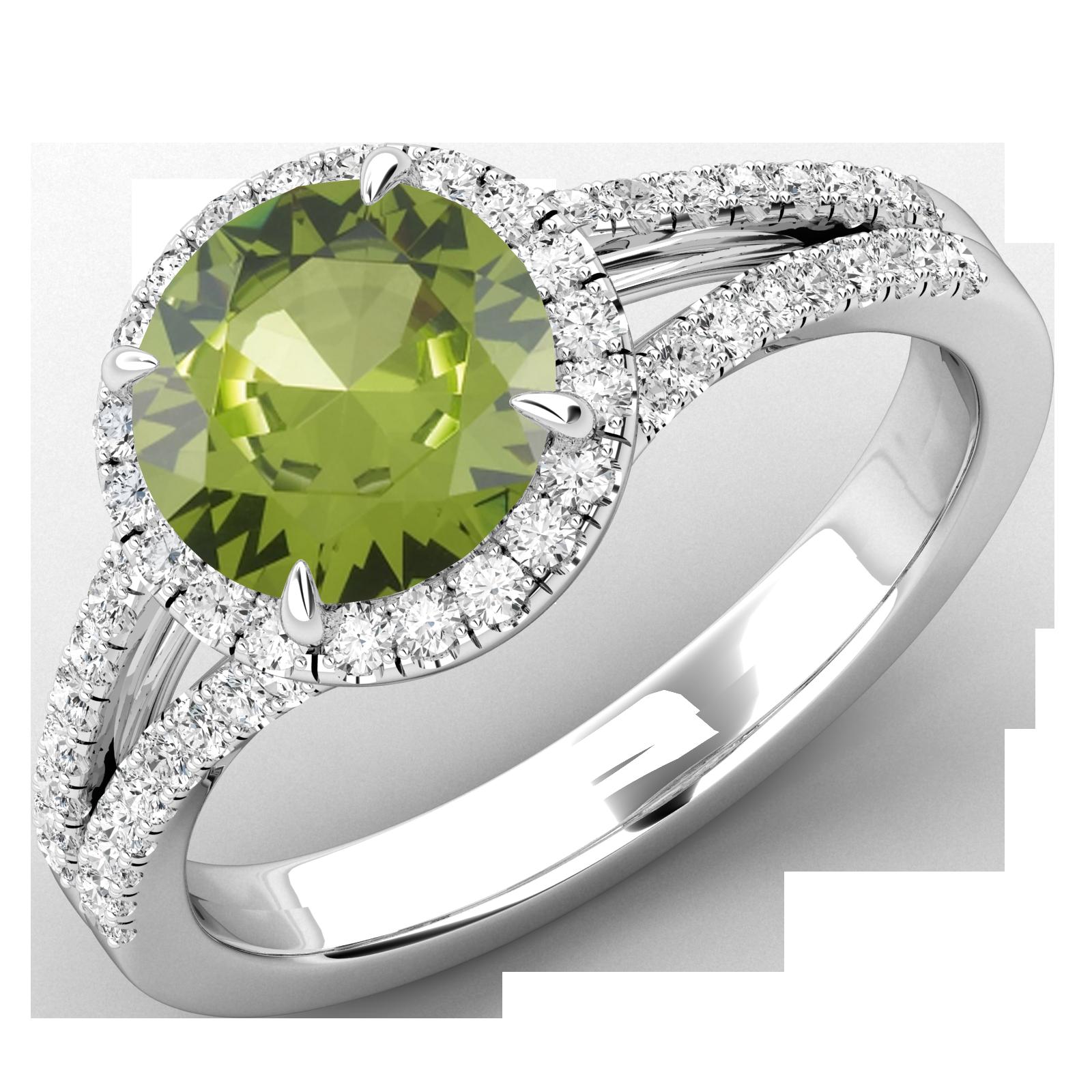 Inel Dama Aur Alb 18kt cu Peridot si Diamante, Stil Halo-img1