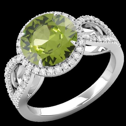 RDPER748W-Inel cu Peridot si Diamante Dama Aur Alb 18kt,un Peridot Rotund Briliant Setate cu Gheare si o Sina Superba Despicata-img1
