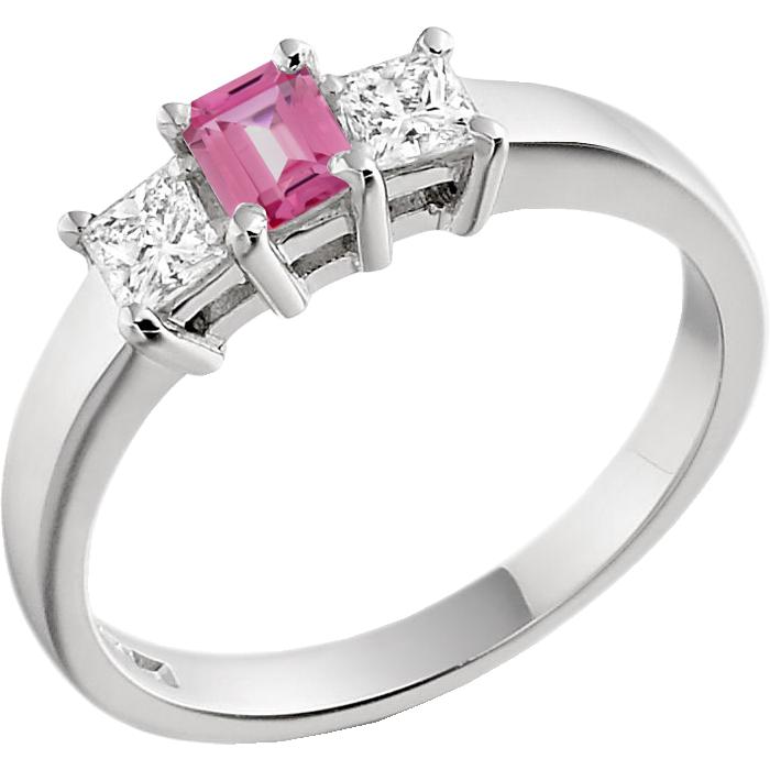 RDPK167W-Inel cu Safir Roz si Diamant Dama Aur Alb 18kt cu un Safir Roz Forma Smarald si 2 Diamante Forma Princess-img1