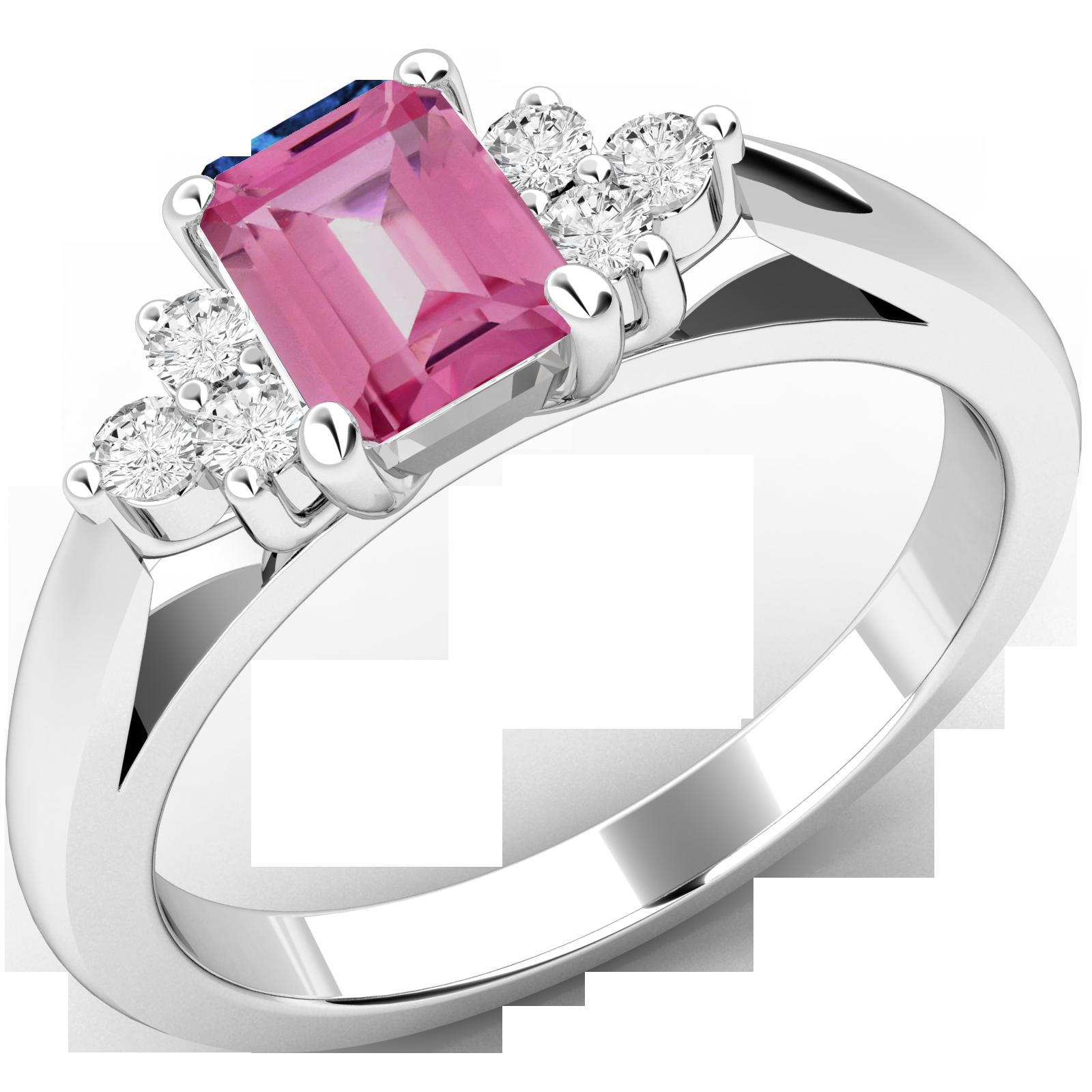 Inel cu Safir Roz si Diamant Dama Aur Alb 18kt cu un Safir Roz Forma Smarald si Diamante Rotunde-img1