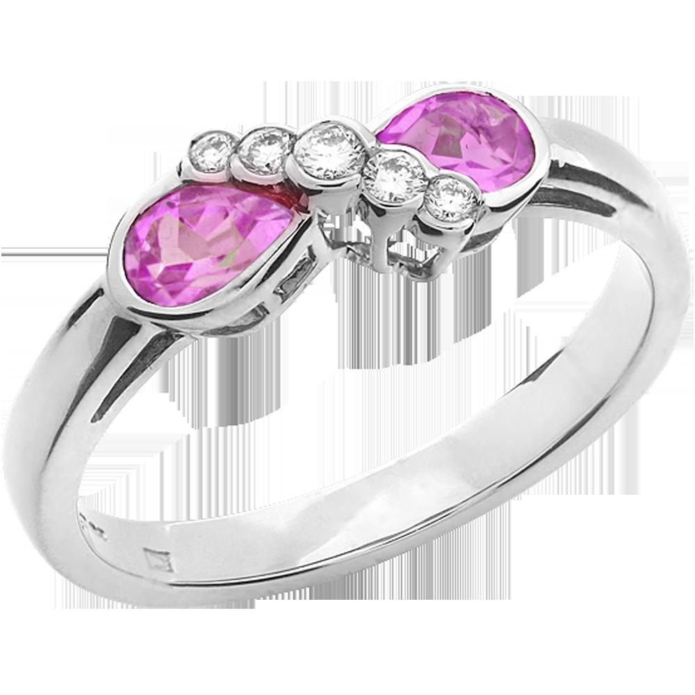 Inel cu Safir Roz si Diamant Dama Aur Alb 18kt cu 2 Safire Roz Forma Para si 5 Diamante Rotunde-img1