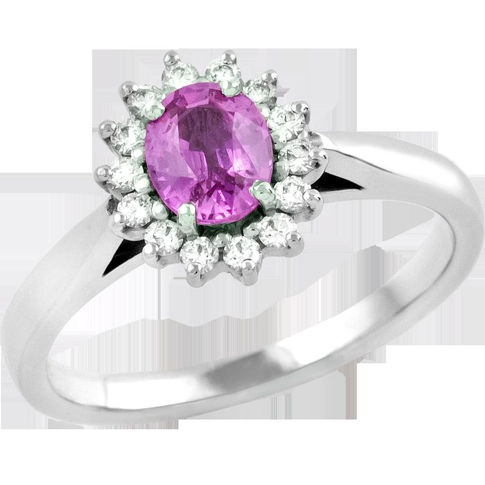 Inel cu Safir Roz si Diamant Dama Aur Alb 18kt cu un Safir Roz Oval in Centru si Diamante Rotunde-img1