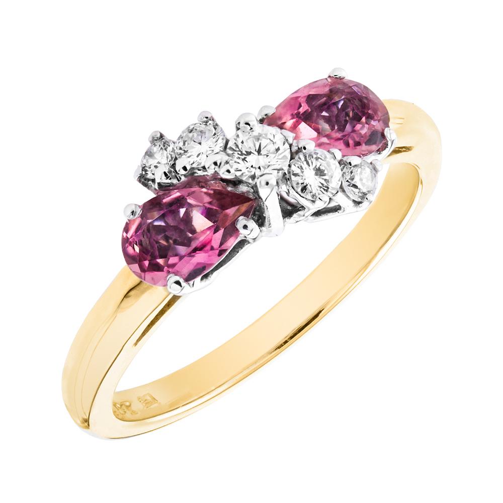 Inel cu Turmalina Roz si Diamant Dama Aur Galben si Aur Alb 18kt cu 2 Turmaline Roz Forma Para si 5 Diamante Rotunde in Stoc-img1