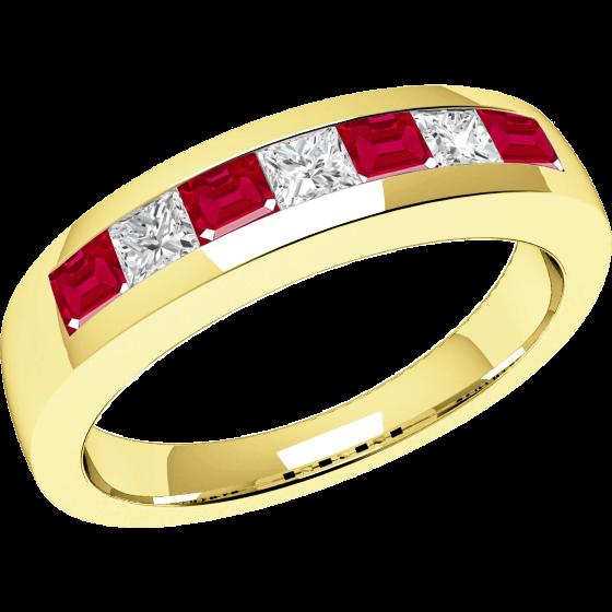Inel cu Rubin si Diamant Dama Aur Galben 18kt cu 7 Pietre, Rubine si Diamante Forma Patrata in Setare Canal-img1