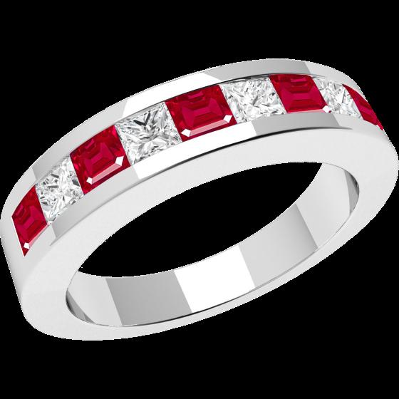 Inel cu Rubin si Diamant Dama Aur Alb 18kt cu 9 Pietre, Rubine si Diamante in Setare Tip Canal-img1
