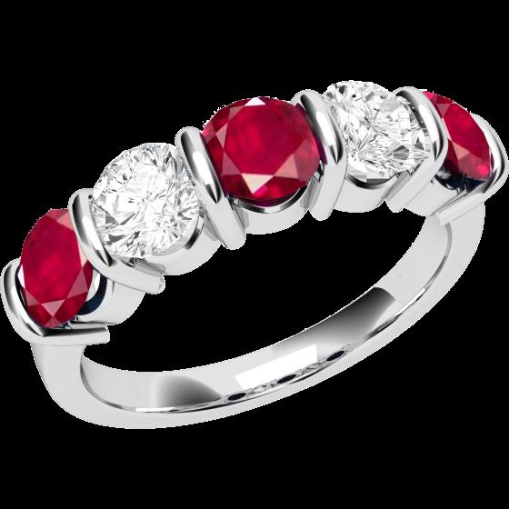 Inel cu Rubin si Diamant Dama Aur Alb 18kt cu 5 Pietre, Rubine si Diamante cu Setare Bara-img1